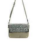 28833 - Wholesale Two Compartment Magnetic Flap Leopard Cross-body Messenger Bag