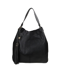58817 - Wholesale Center Stitched Hobo Equestrian Shoulder Handbag with Tassel