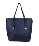 7295 - Wholesale Two Tone Bow Tie Handle Tote