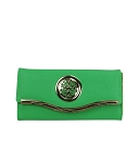 9843 - Wholesale Textured Flip Fold Wallet with Emblem