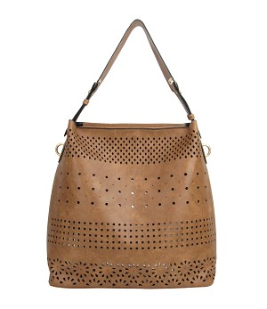 7319 - Perforated 2-IN-1 Hobo & Crossbody Bag