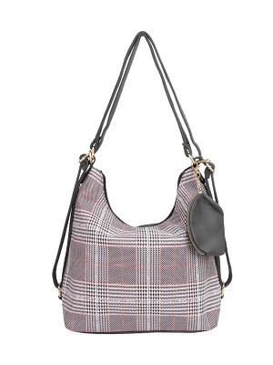 7702 - Wholesale Plaid Hobo Bag & Coin Purse