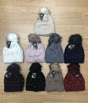 HW3079 - Wholesale Knit Winter Hat With Pearl