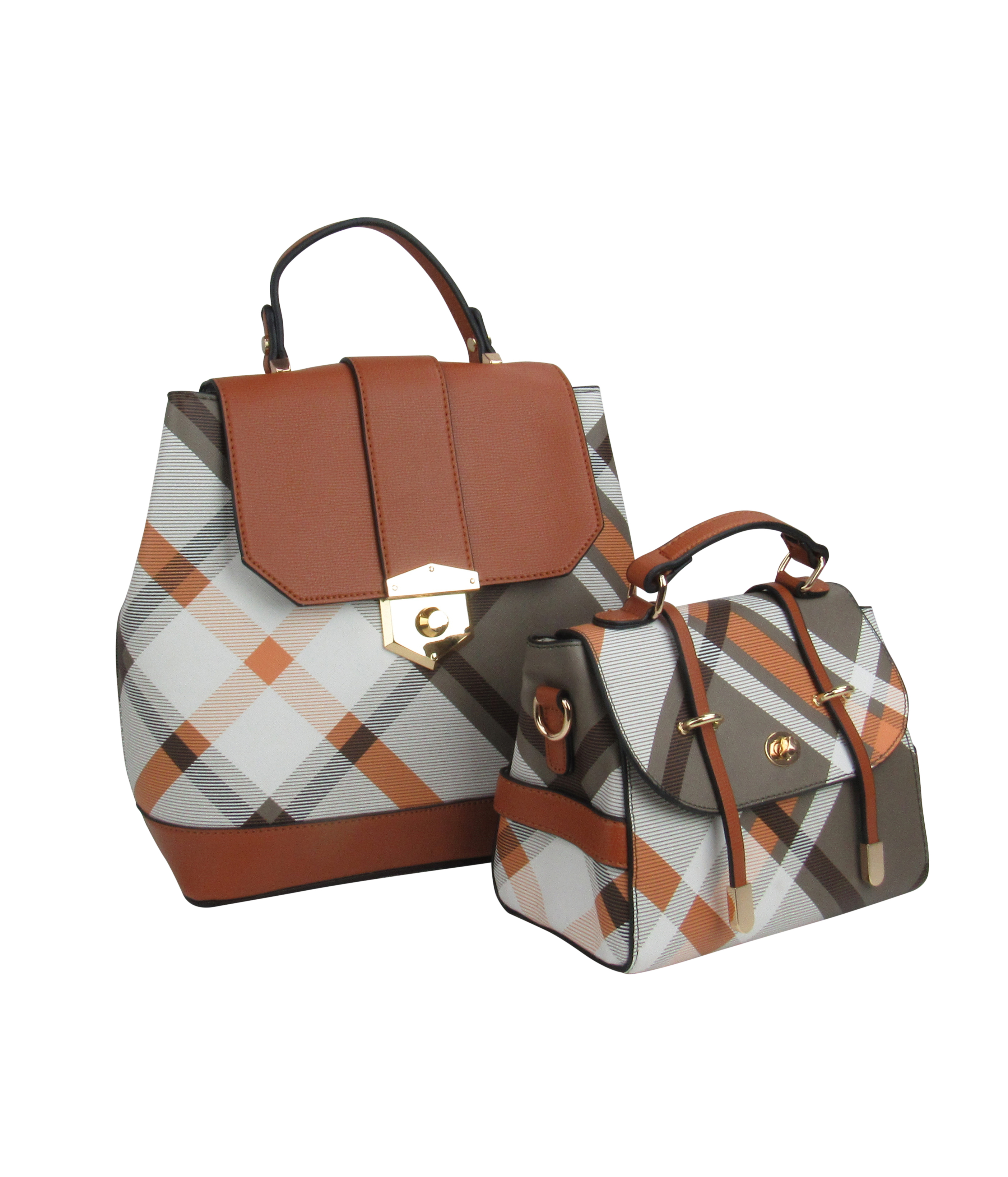 18853-1 - Wholesale Plaid Satchel 2-in-1 Tote Bag