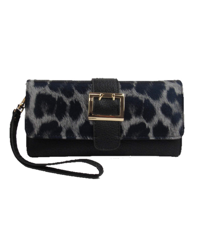 9860 - Wholesale Leopard Print Magnetic Flap Closure Wallet