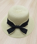 39100-7 - Wholesale Bow Decor Summer Straw Hat