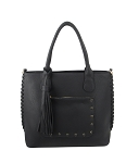 7230 - Wholesale Studded Pocket Tote Handbag with Shoulder Strap