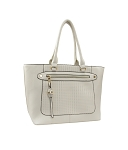 7242 - Wholesale Front Pocket Embossed Tote Shoulder Bag