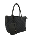 7274 - Quilted Tote Shoulder Bag with Wristlet