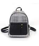7315-1- Wholesale Fashionable Plaid Backpack