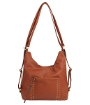 7334 - Studded Convertible Hobo Backpack