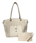 7338  2-IN-1 Embossed Tote With Front Pocket