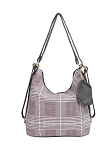 7702 - Wholesale Plaid Convertible Hobo To Backpack & Coin Purse