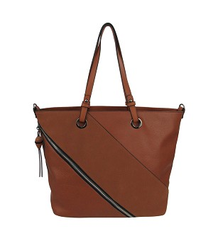 38833 - Wholesale Faux Zipper Tote Patch Shoulder Bag