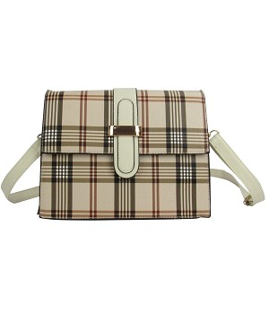 7258- Plaid Crossbody Handbag