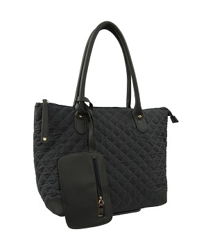 7274 - Wholesale Quilted Tote Shoulder Bag with Wristlet
