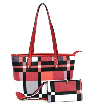 7348 - Wholesale 2 In 1 Plaid Handbag