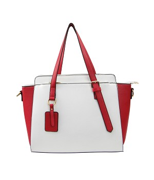 7502 - Wholesale Two Tone Satchel Handbag