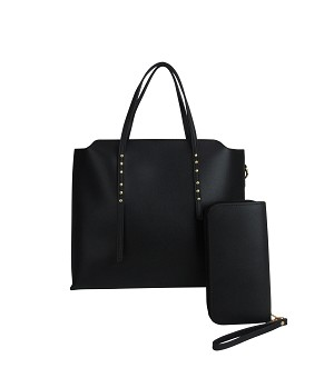 7910 - Wholesale 2 in 1 Studded Tote Handbag with Wallet