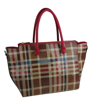 88806 - Wholesale Plaid Patent Leather Satchel