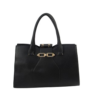 9318 - Gold-Accent Contrasting Seam Satchel