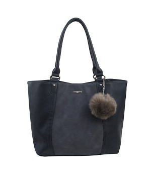 G8218 - Wholesale Patch Tote with Pom Pom Shoulder Bag