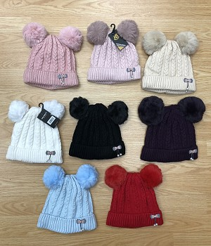 HW3055 - Wholesale Kids Knit Fleeced Winter Hat